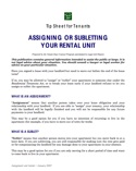 Tip Sheet for Tenants: Assigning or Subletting Your Rental Unit