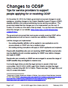 Changes to ODSP Tips for service providers to support people applying for or rec