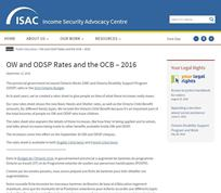 OW and ODSP Rates and the Ontario Child Benefit (OCB) – 2016