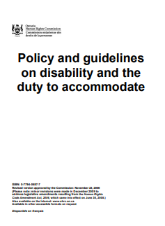 Policy and guidelines on disability and the duty to accommodate