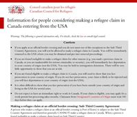 Information for people considering making a refugee claim in Canad