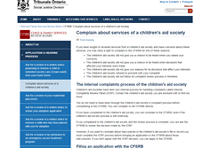 Complain about services of a children's aid society - CFSRB