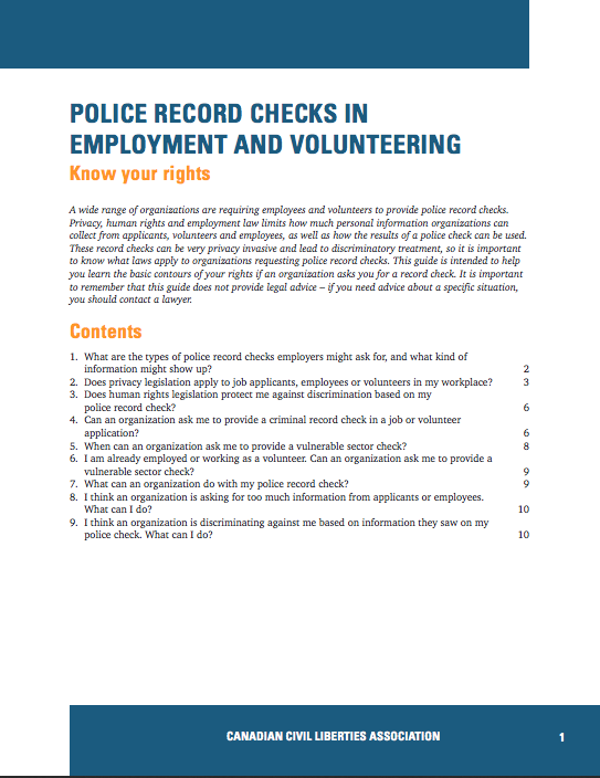 Police Record Checks in Employment and Volunteering thumbnail